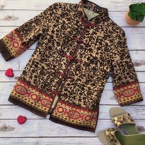 Jackets & Blazers - Asian Inspired Print Jacket with Mandarin Collar